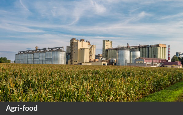 a factory setting behind a field of crops in the bioeconomy and agrifood sector